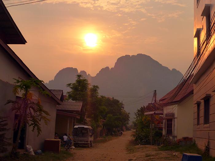 Vang Vieng Coucher de soleil, Laos