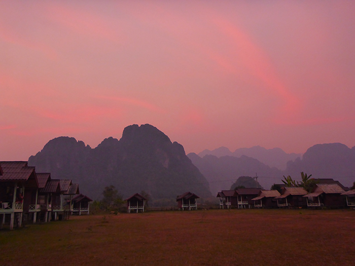 Coucher de soleil Vang Vieng Laos