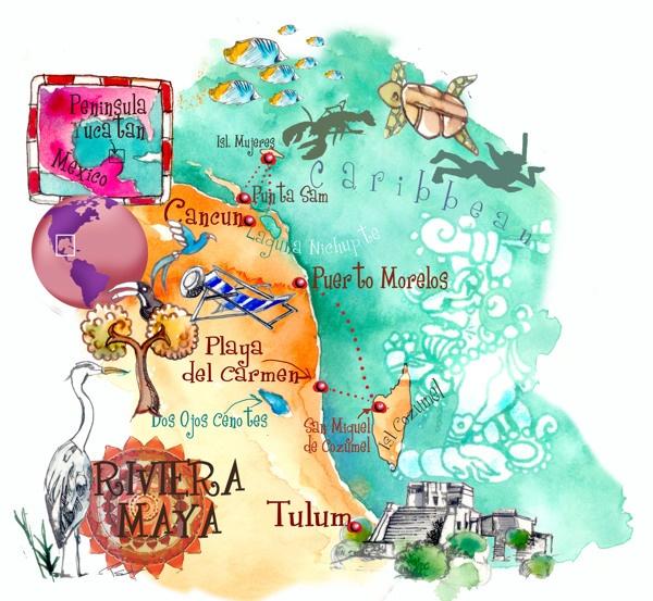Carte de la péninsule du Yucatan