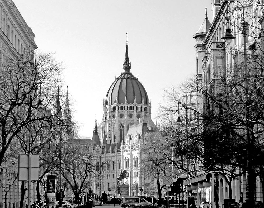 Le Parlement de Budapest Noir et Blanc